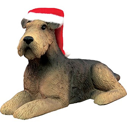 Sandicast Ornament Airedale Terrier With Santa Hat (XSO18601)