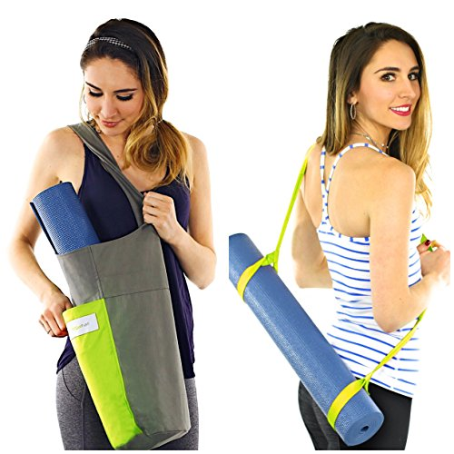 Yoga Mat Bag Carrier + Extra Yoga Mat Strap Holder for Carrying Yoga Mat - with 2 Extra Pockets for Keys, Phone and Extras. Cotton Canvas Tote Gym Sling - Yoga Bag for Men Women and Kids (Green)