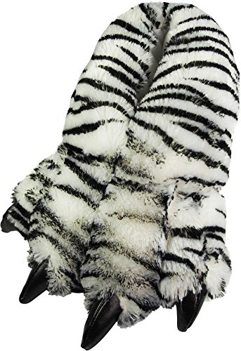 Norty - Big Adults Big Foot Tiger Animal Claw Slippers, White, Black 39872-Large