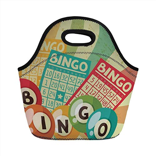 Healthy Food Bingo - Portable Bento Lunch Bag,Vintage Decor,Bingo Game with Ball and Cards Pop Art Stylized Lottery Hobby Celebration Theme,Multi,for Kids Adult Thermal Insulated Tote Bags