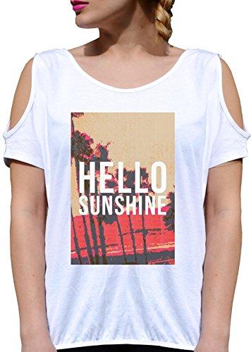 T SHIRT JODE LADY GGG27 Z0420 HELLO SUNSHINE COOL CALIFORNIA ROCK USA VINTAGE BEACH BIANCA - WHITE XL