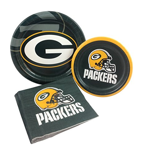 Green Bay Packers Football Party Supply Pack! Bundle Includes Paper Plates & Napkins for 8 Guests