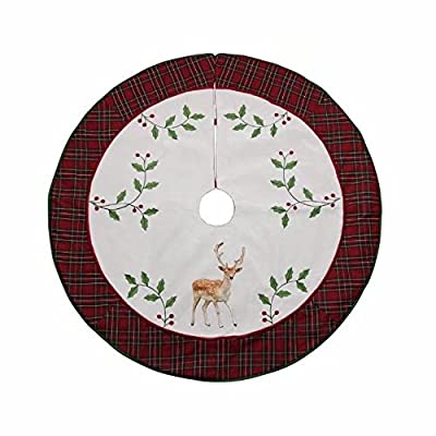 """Valery Madelyn Decorative Red and Gold Tree Skirt 21"""",16"""",48"""""""