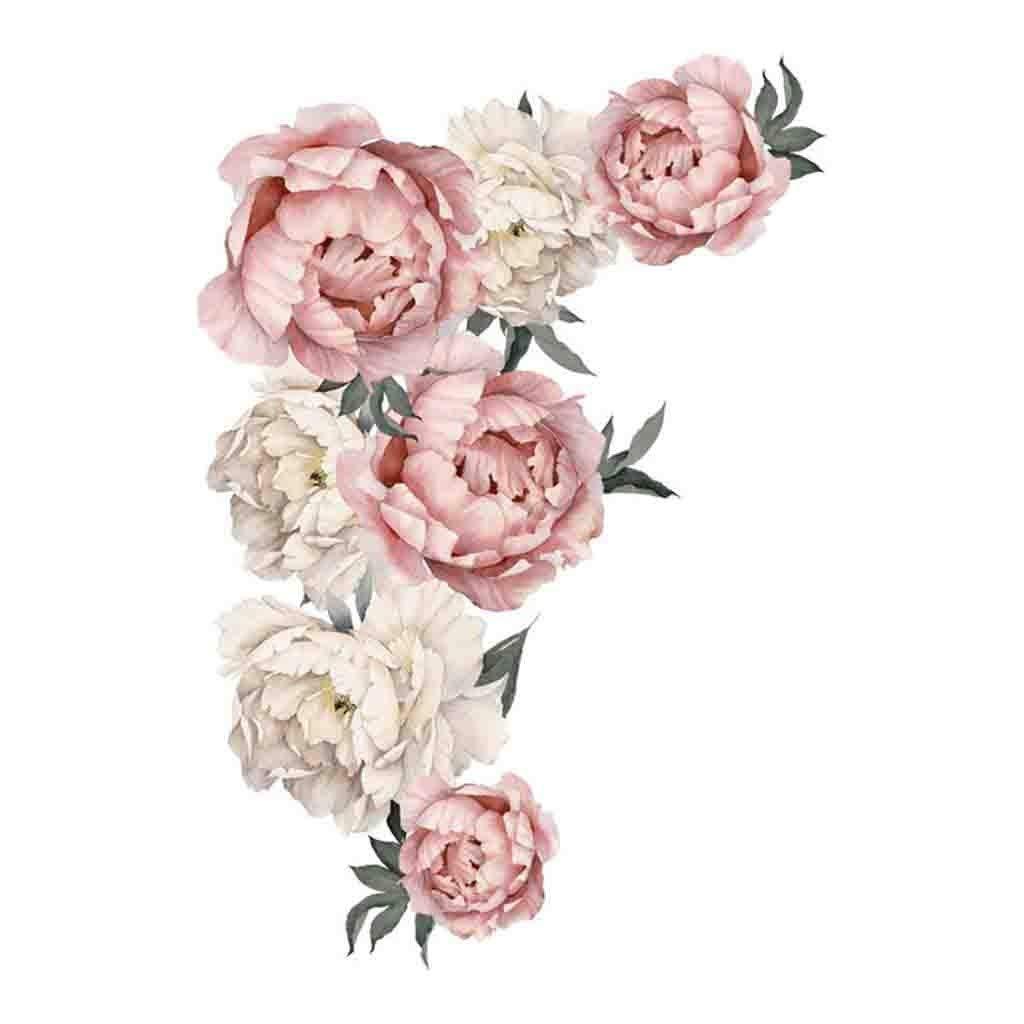 HUYURI Peony Rose Flowers Wall Sticker Art Nursery Decals Kids Room Home Decor Gift