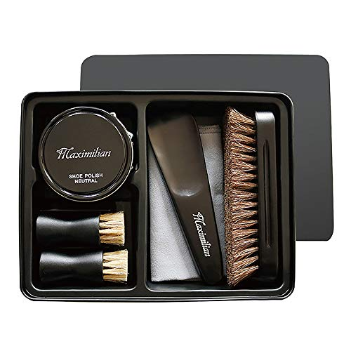Hlaximilian Deluxe Business Leather Shoe Care Kit - 2 Shoe Polish Applicator Brush, 100% Horsehair Brush, Black & Neutral Polish (40g), Shoehorn, Buffing/Shining Cloth (Small Shoe Shine Kit)