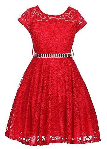iGirlDress Big Girls Floral Lace Flower Girls Dresses Red 10 -