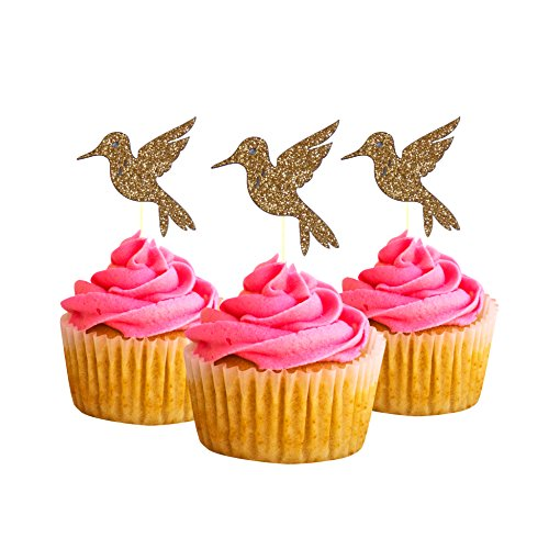Hummingbird Cupcake Topper 10 Pack Cupcake Topper Decoration Cake glitter Card Stock Gold ()