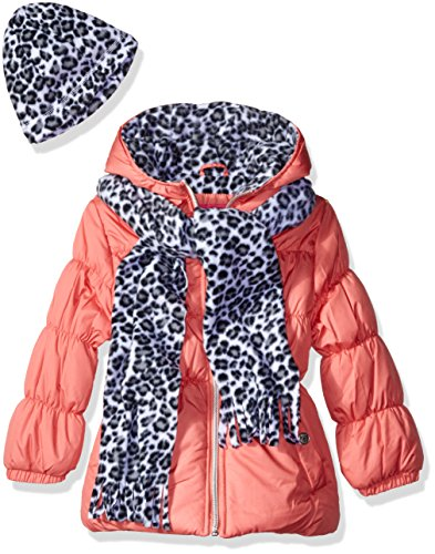 Pink Platinum Little Girls' Toddler Puffer Jacket with Cheetah Lining and Accessories, Coral, 2T