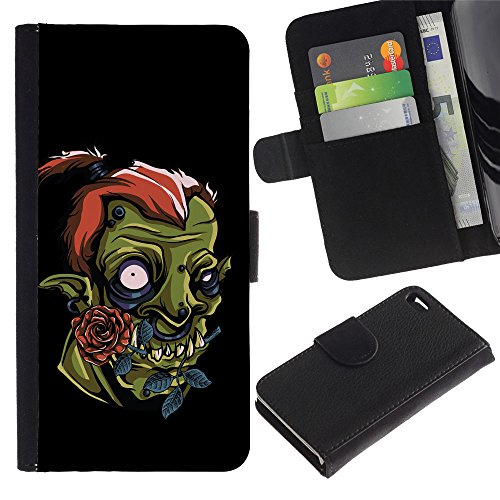 OMEGA Case / Apple Iphone 4 / 4S / Cute Funny Orc / Cuir PU Portefeuille Coverture Shell Armure Coque Coq Cas Etui Housse Case Cover Wallet Credit Card