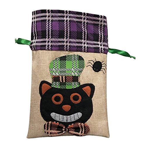Big-time Halloween Drawstring Candy Bag,Trick-or-Treat Tote Bag,Halloween Candy Cookie Gift Bag Witch/Ghost/Black Cat Printed Party Favor for Kids Presents