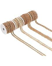Burlap Twine Ribbon, NogaMoga 4 Rolls 10/15/18mm Wide Decorative Jute Burlap Braided Hemp Rope for DIY Crafts, Wedding Decoration, Home, Garden Artworks, Gift Wrapping, Wreath – 82.5Feet
