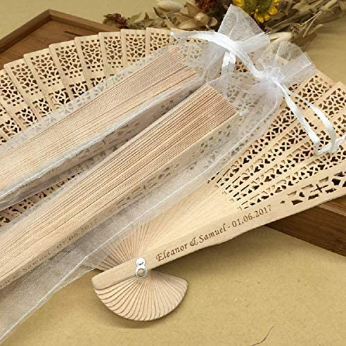 Ventaglio elegante in legno nero e cotone con disegni fiorati Adatto per matrim