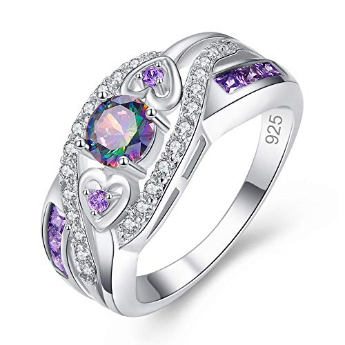 Ring Engagement Cut Best - MEZETIHE Oval Heart Cut Design Wedding Engagement Ring Size 6 7 8 9 10 11 12 13 Women Ladies Rings Jewelry Gift (Purple, 8)