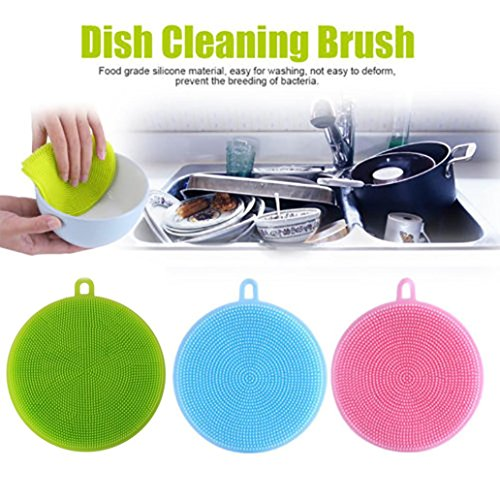 Hot ! ღ Ninasill ღ 3Pcs Silicone Dish Washing Sponge Scrubber Kitchen Cleaning antibacterial Tool (Multicolor)