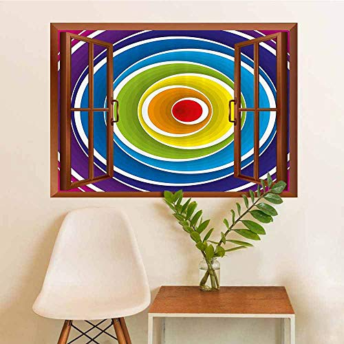 Abstract Vinyl Decal Sticker Spiral Circles in Turning Color Tones Rounds Inner Fantasy Kids Effects Artwork Home Decorations W12xL18 INCH (Kid Friendly Horses For Sale In Texas)