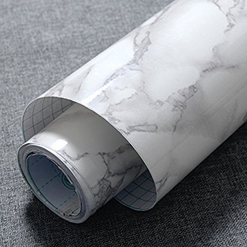 Grey Granite Counter (JIUBING Grey Marble Look Contact Paper Gloss Film Vinyl Self Adhesive Backing Granite Shelf Liner Peel and Stick Wall Decal for Covering Counter Top Kitchen Cabinet (24''x79''))