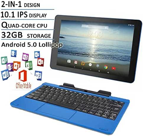 RCA Viking Pro Blue Edition 10.1-Inch Touchscreen 2 In 1 Tablet Laptop (Quad-Core Processor, 32G storage, Detachable Keyboard, Free Office Moblie APP, IPS Display, Android 5.0 Lollipop)