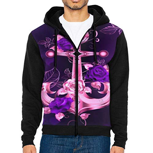 (Mens Pullover Hood Pink Sea Anchor Rose Zip Hoodies Hooded Classic Jackets Coats)