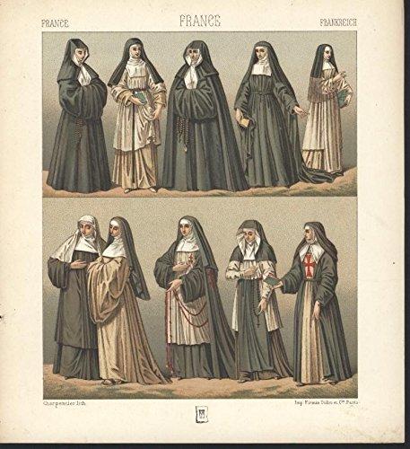 France Clergy Nuns Mother Superior c.1880 antique color lithograph (Superior Nun)