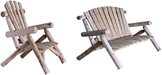 product image for Lakeland Mills Cedar Log Lounge Chair with 4-Foot Cedar Log Love Seat, Natural