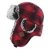 Mens Womens Plaid Faux Fur Hunting Bomber Trapper Flaps Winter Cap Ushanka Russian Hat Red