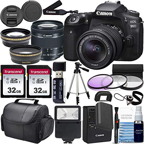 Canon EOS 90D DSLR Camera and Canon EF-S 18-55mm f/3.5-5.6 is STM Lens & Professional Accessory Bundle W/ 2X 32GB Memory…