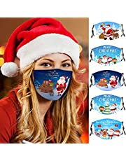 5 Pcs Adult Fashion Face_mask Popular Christmas Theme Pattern Reusable Anti-dust Washable Breathable Face_mask with Earloops Adjust Length