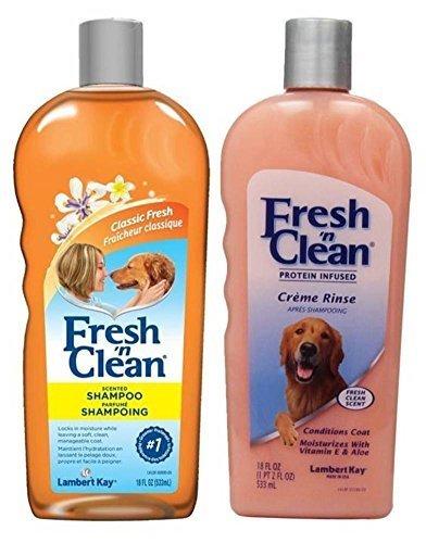 Fresh 'N Clean Classic Shampoo & Creme Rinse Bundle: (1) Fresh 'N Clean Classic Fresh Scented Shampoo, and (1) Fresh 'N Clean Classic Fresh Scented Creme Rinse, 18 Oz. - Kay Dog Lambert Shampoo