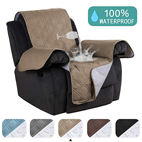 Waterproof Recliner Chair Cover For Small Recliners Pet Quilted Sofa Covers for Leather Non Slip Furniture Protector Soft and Cotton Finish Crafted Sofa Protector/Slipcovers Taupe - 79 x 68 - Inch