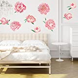 Chromantics Pretty Pink Peonies Watercolor Wall Decal Kit - Pink Floral Decor