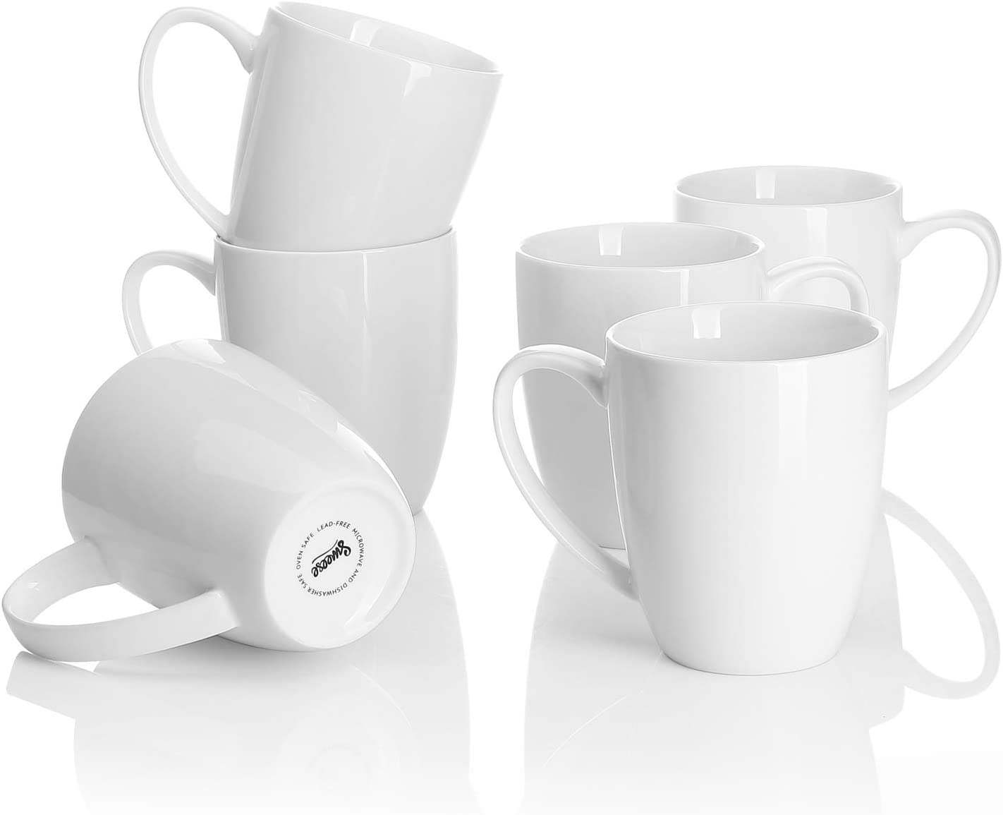 Sweese 611.001 Porcelain Mugs - 12 Ounce for Coffee, Tea, Mocha and Mulled Drinks - Set of 6, White