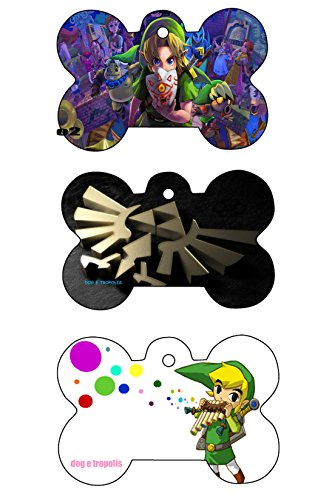 Zelda Link Triforce Custom Logo Dog Pet Cat ID Tag Bone Shape Photo Picture Personalized Key Ring (Triforce) -