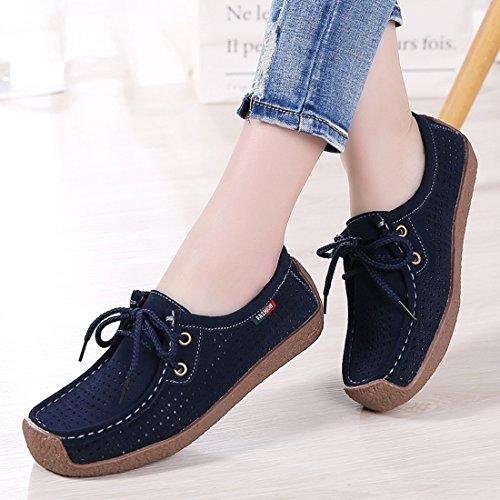 Moda Casual Zapatos conducción de Cuero Mujer de Azul Z 1 Loafers Mocasines Zapatillas SUO gTwXUH