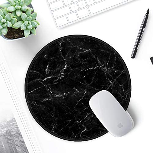 ITNRSIIET [20% Larger] Mouse Pad with Stitched Edge Premium-Textured Mouse Mat Waterproof Non-Slip Rubber Base Round Mousepad for Laptop PC Office 8.7×8.7×0.12 inches, Black Marbling