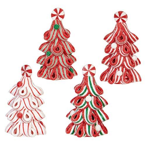 (RAZ Imports Ribbon Candy Christmas Trees 2 x 3 Inch Claydough Ornaments Assorted Set of 4)
