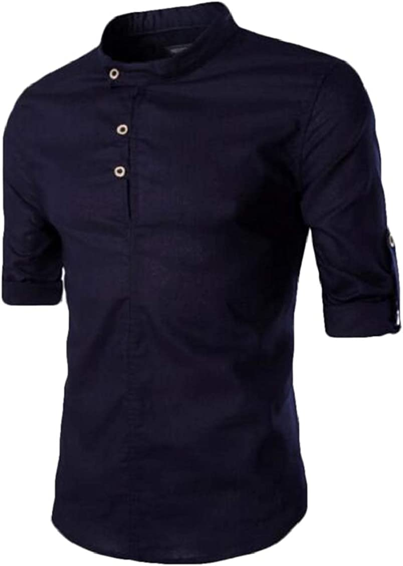 WNSY Men Vogue Solid Color Slim Long Sleeve Stand Collar Shirts Navy Blue US XS