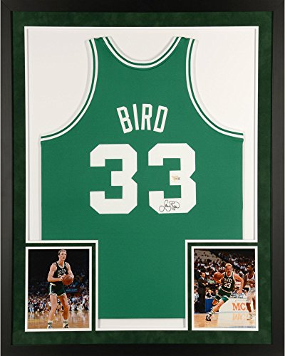 (Larry Bird Boston Celtics SM Deluxe Framed Autographed Green Mitchell & Ness Authentic Jersey - Fanatics Authentic Certified )