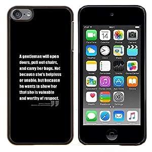Planetar® ( Cita de motivación Texto Negro Inspiring ) Apple iPod Touch 6 6th Touch6 Fundas Cover Cubre Hard Case Cover