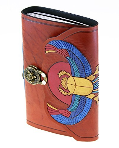 Hand Carved, Tooled, Dyed and Painted Scarab Leather Bound Journal by Skrocki Designs: fine leather and artisan jewelry