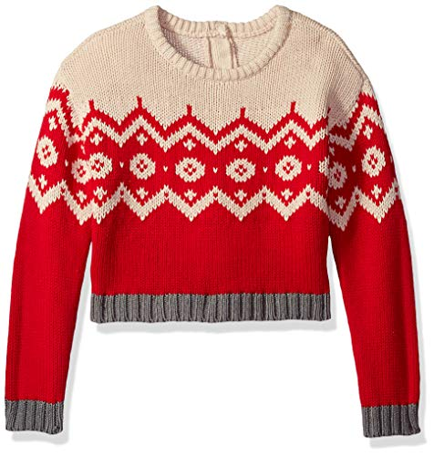 (Crazy 8 Girls' Big Pullover Sweater, fair isle red 2T)