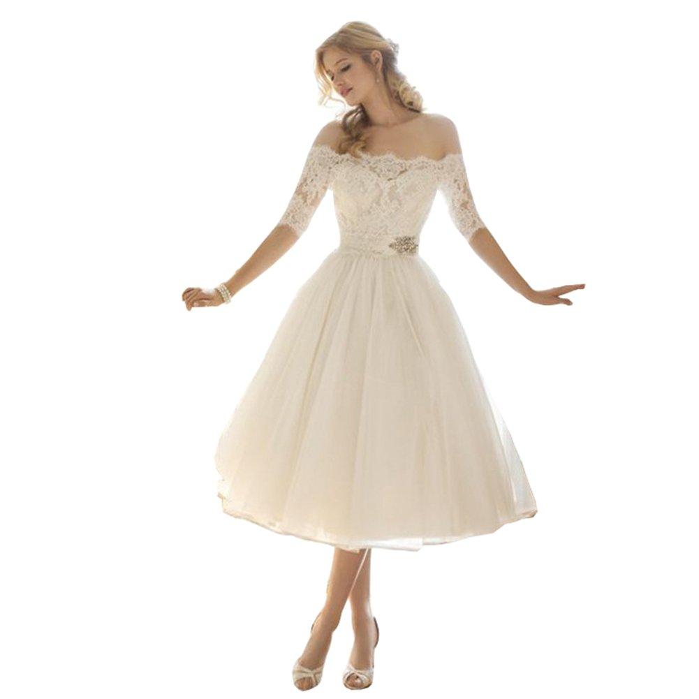 Lava-ring Women's A-line Wedding Dress 2018 Off-The-Shoulder Lace Tulle Princess Dress
