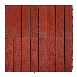NewTechWood US-QD-ZX-SR Ultrashield Naturale Outdoor Composite Quick Deck Tile (10 Case), 1' x 1', Swedish Red