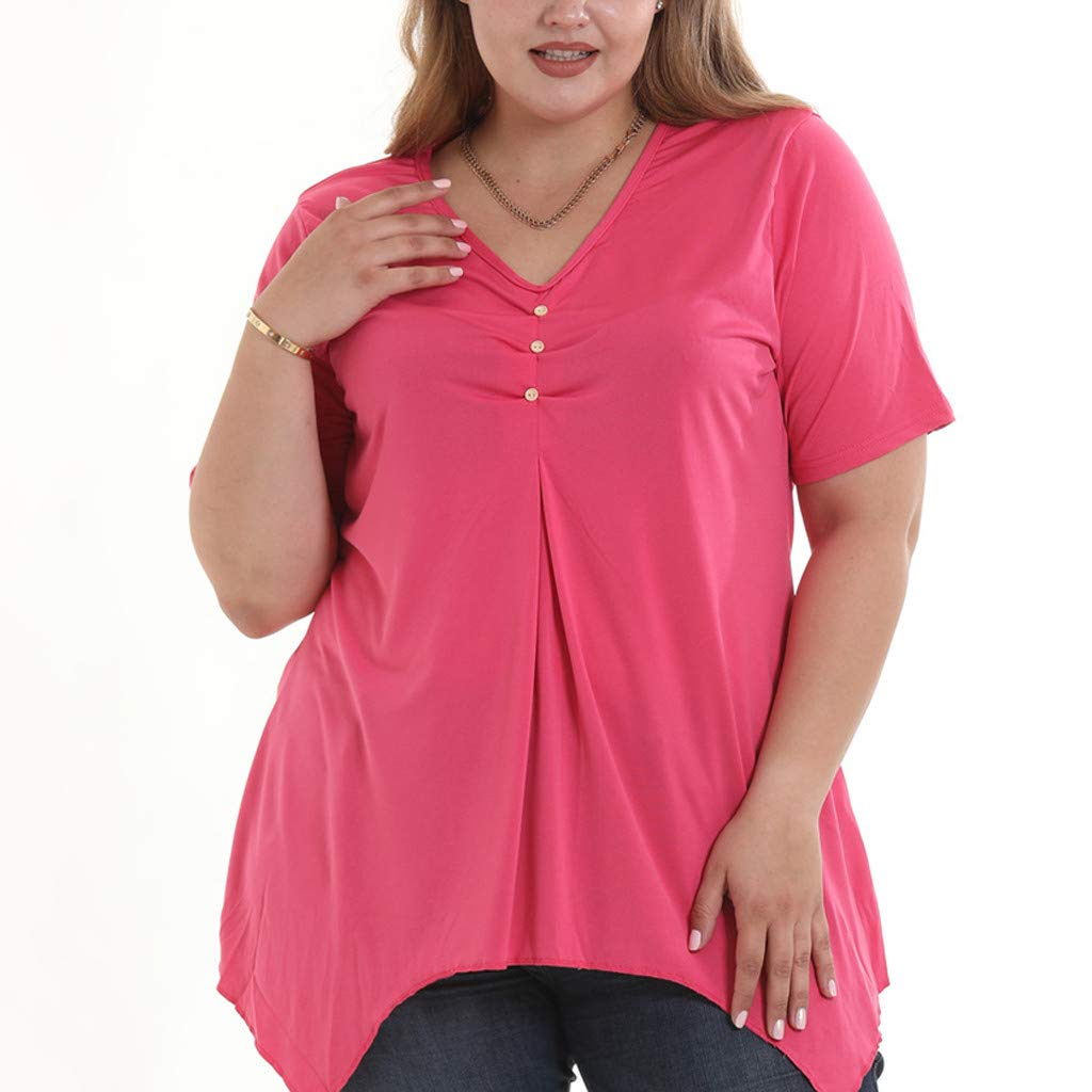 2019 Women Plus Size Irregular V-Neck Short Sleeve Button Top T Shirt Ladies Casual Blouse S-6XL (M) Hot Pink