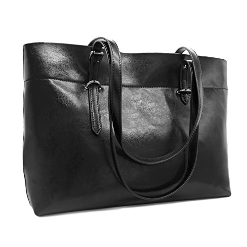 Women's Vintage Large Genuine Leather Tote Shoulder Bag Purse Handbag with Zipper - Genuine Leather Purse Tote Bag