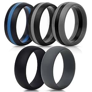 Amazon.com : Saco Band Silicone Wedding Rings - Middle