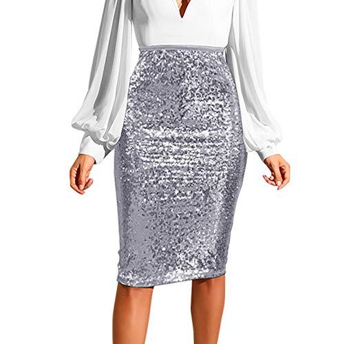 (VEZAD Women Fashion Solid Slim High Waist Push up Hip Pencil Zipper Sequin Skirt)