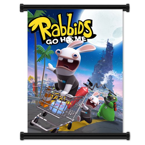 Price comparison product image Rabbids Go Home Game Fabric Wall Scroll Poster (21x16) Inches