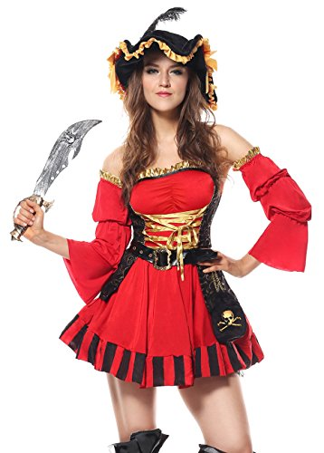 Deluxe Pirate Wench Costumes (Kimring Women's Deluxe Spanish Pirate Valentines Day Outfit Red Medium)