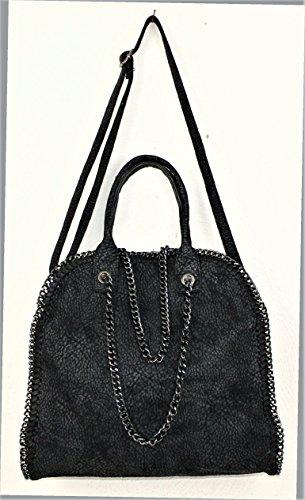 Henkeltasche Damen Handtasche SYDNEY schwarz Lederlook mit Kette