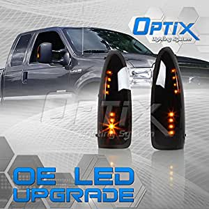 Optix Autolabs Side Mirror LED Turn Signal Lights - 1999-2007 Ford F-250 F-350 F-450 F-550 Super Duty - Smoked Lens Amber LED Black Housing - 1 pair
